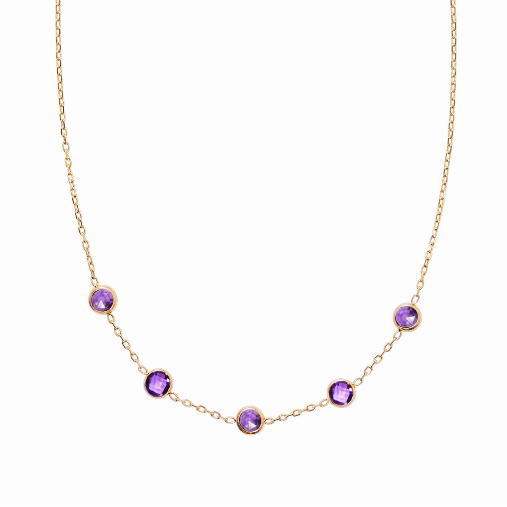 Madeleine Necklace in 18k Gold with Amethyst (February)