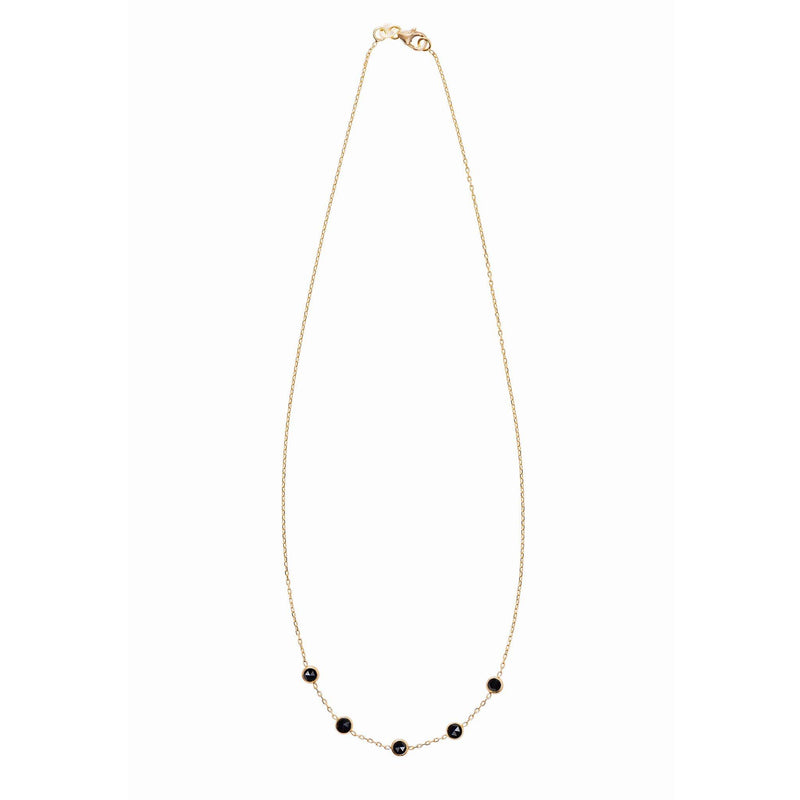 Madeleine Necklace in Gold with Black Onyx