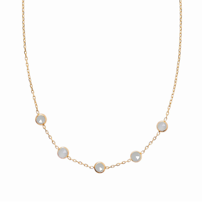 Madeleine Necklace in Gold with Milky Aquamarine