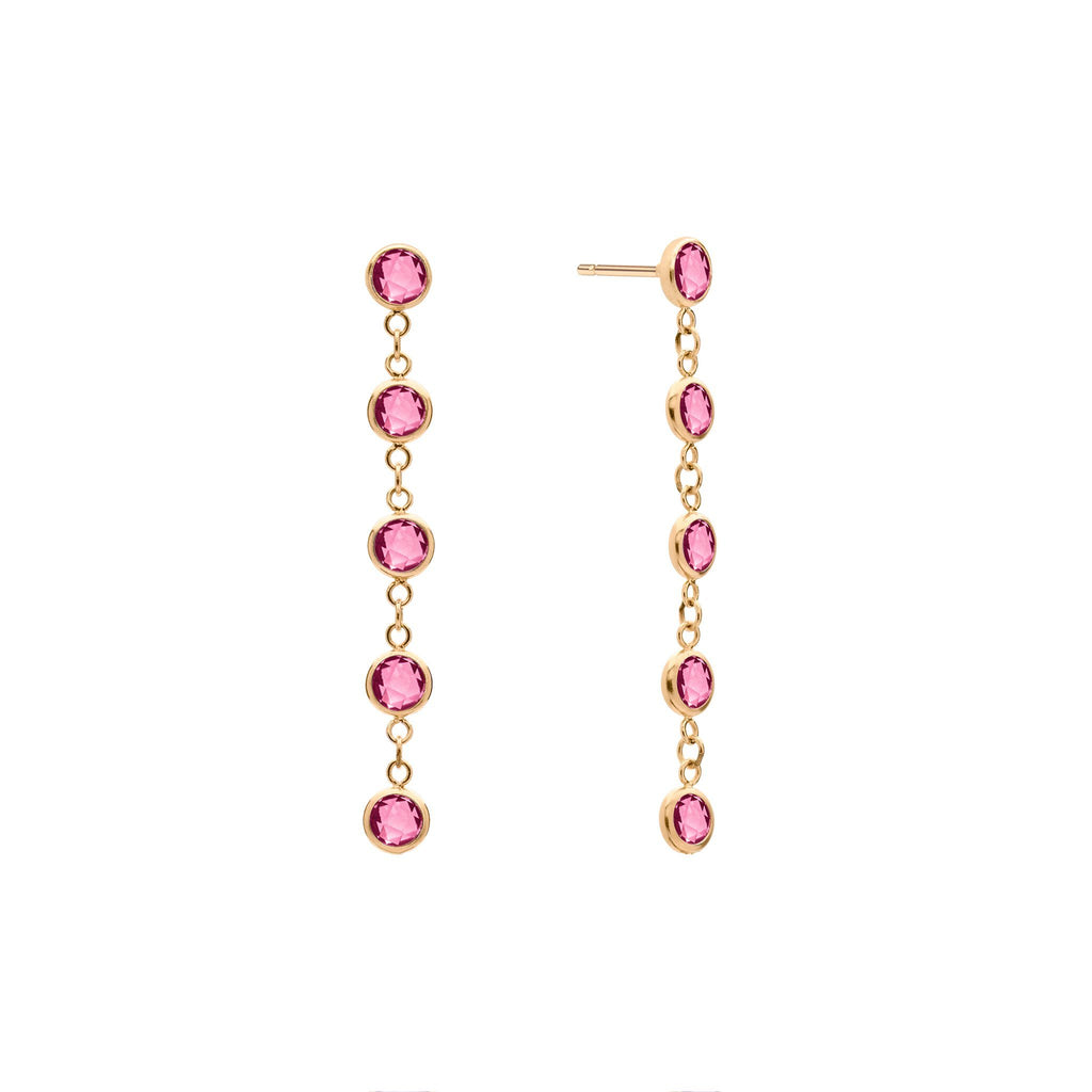 Pink Awareness 5 Stone Birthstone Earrings 14k Gold