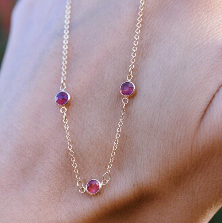 Pink Awareness Necklace - 3 Stones