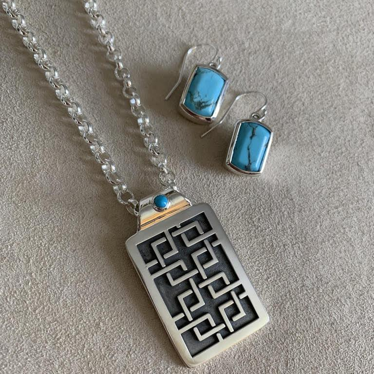 Aston Tag Pendant with Turquoise