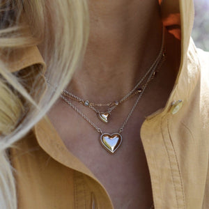 Charley Mini Heart Necklace with Solid Gold