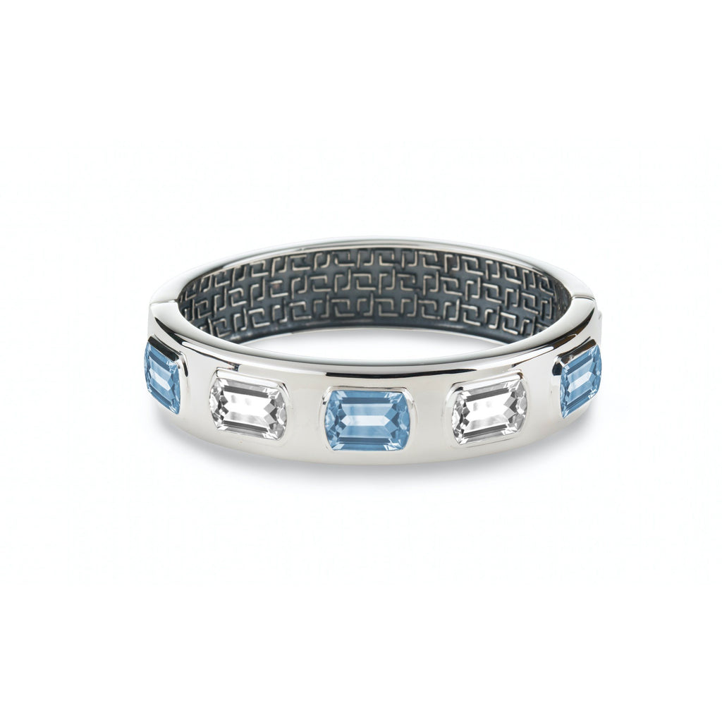 Ventana Bangle in Nantucket Blue Topaz & White Quartz