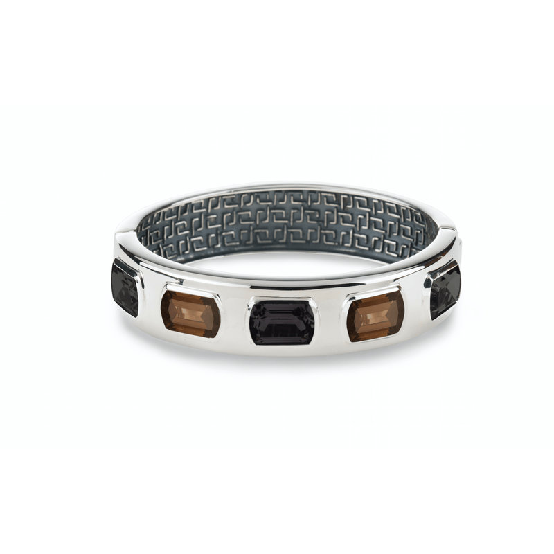Ventana Bangle in Black Onyx & Smoky Quartz