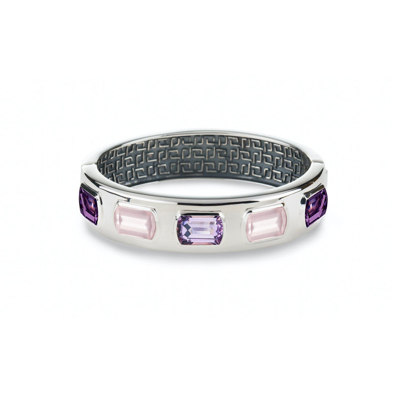 Ventana Bangle in Rose de France, Amethyst & Rose Quartz