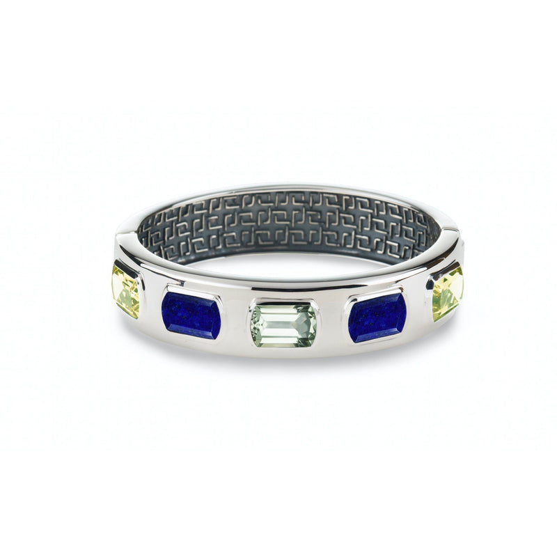 Ventana Bangle in Mint, Lapis & Lemon Quartz