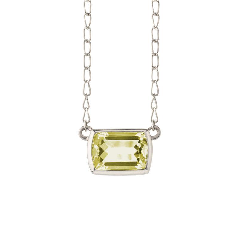 Ventana Solitaire Necklace in Lemon Quartz