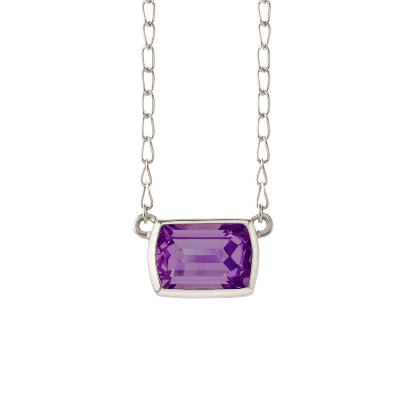 Ventana Solitaire Necklace in Amethyst