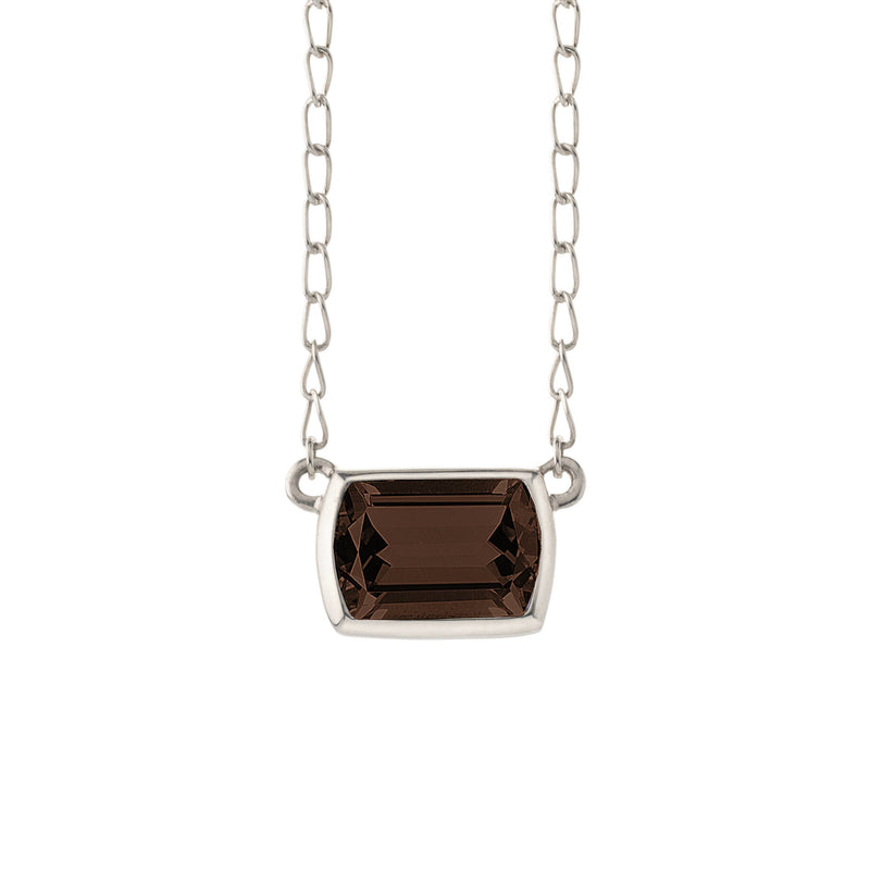 Ventana Solitaire Necklace in Smoky Quartz