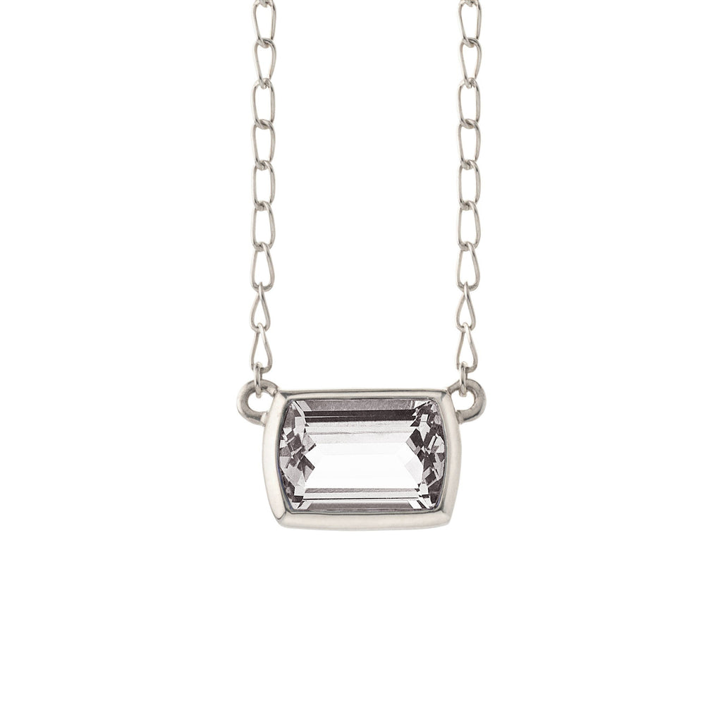 Ventana Solitaire Necklace in White Topaz