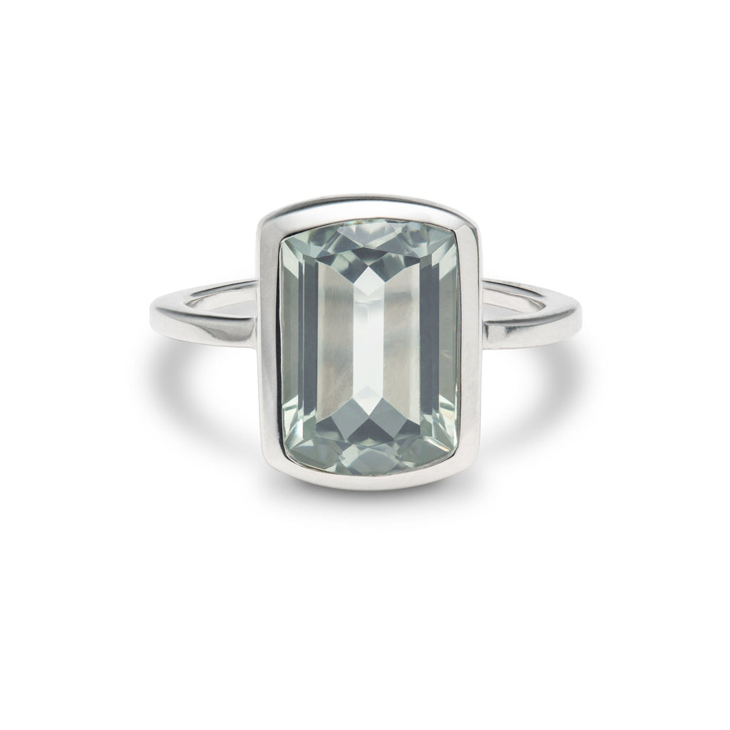 Ventana Vertical Ring in Mint Quartz