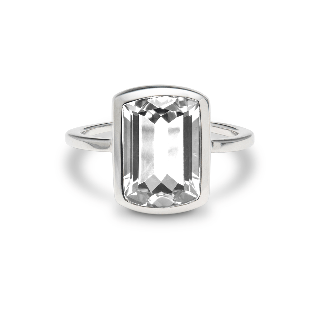 Ventana Vertical Ring in White Quartz
