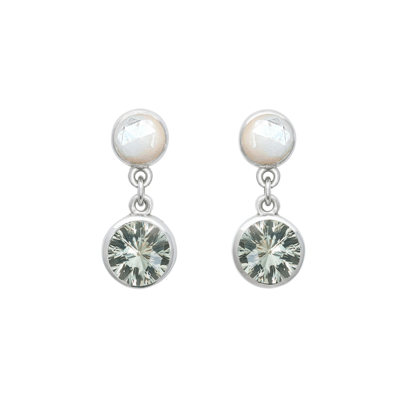 Lang Double Dot Earrings in Mother of Pearl & Green Amethyst