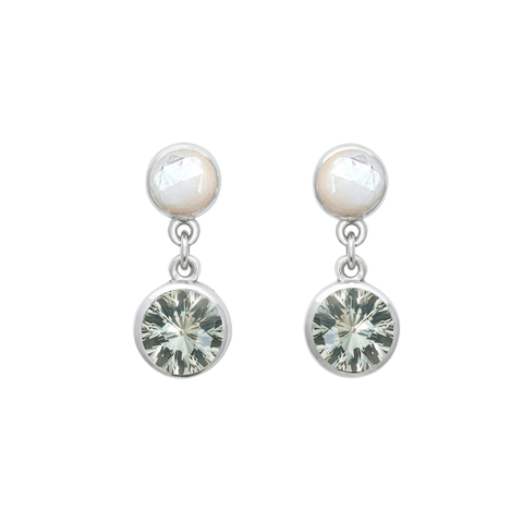 Helena Hoops Earrings with 14k Posts in White Topaz