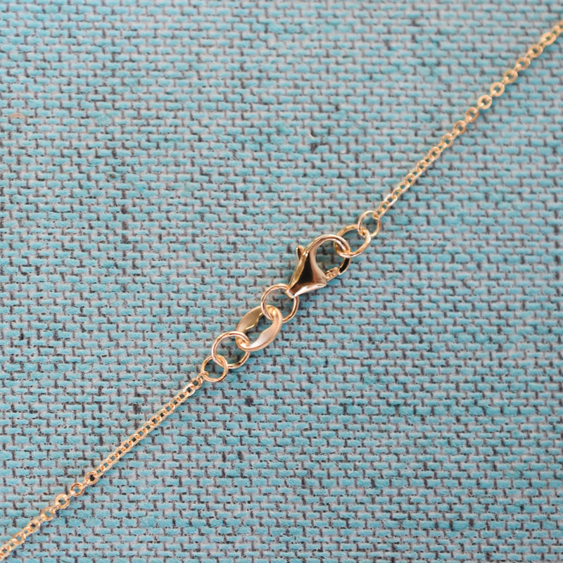 Personalized 1 Letter and 2 Stone Necklace 14k Gold (Double Spacing)