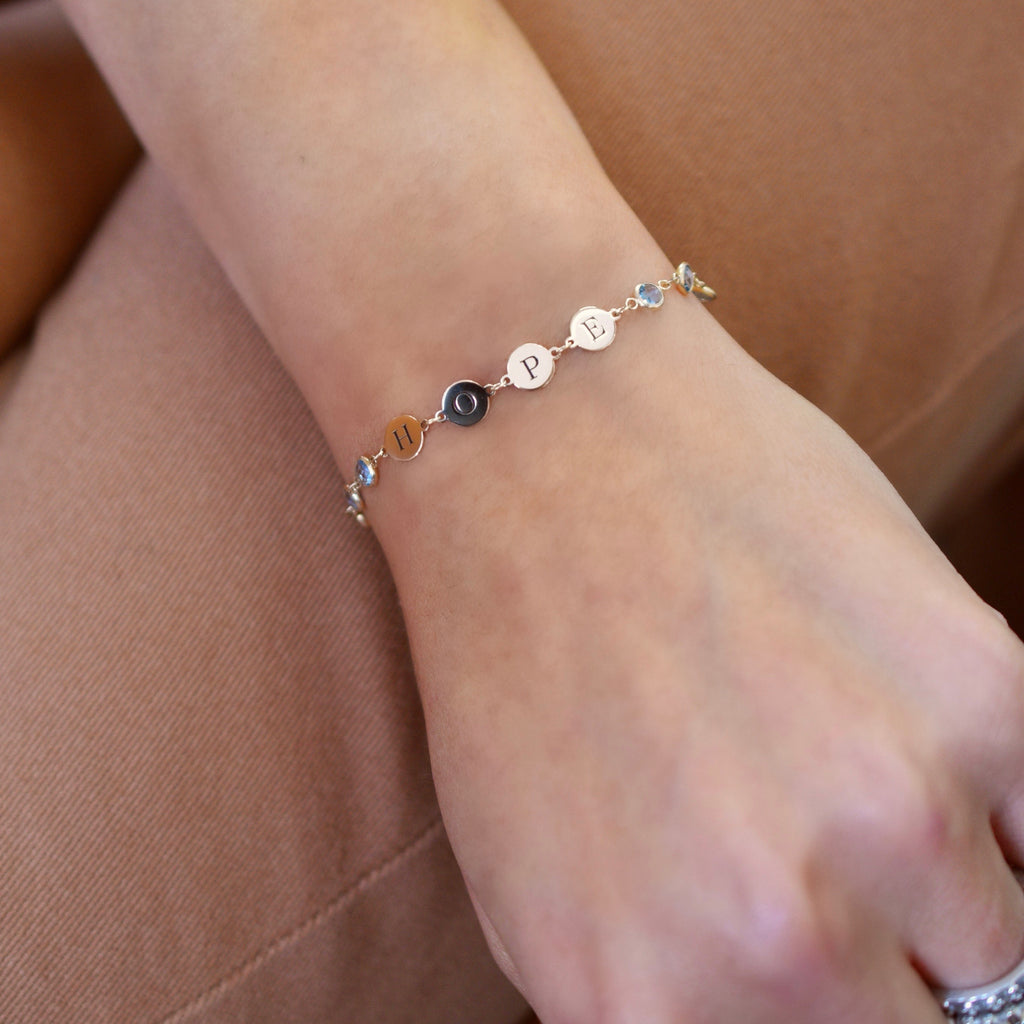 Hope Letter Bracelet with Nantucket Blue Topaz