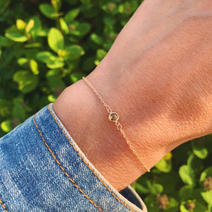 Solitaire Birthstone Bracelet 14k Gold with Peridot (August)