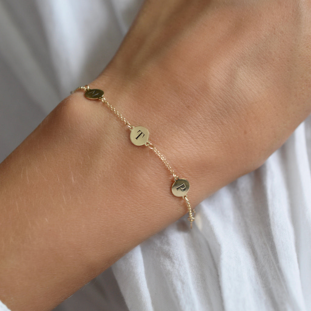 Personalized 5 Letter Bracelet 14k Gold