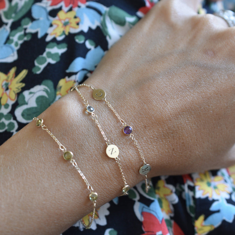 Personalized 2 Letter and 2 Birthstone Bracelet 14k Gold