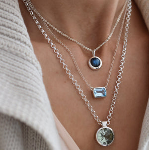 Ventana Solitaire Necklace in Nantucket Blue Topaz