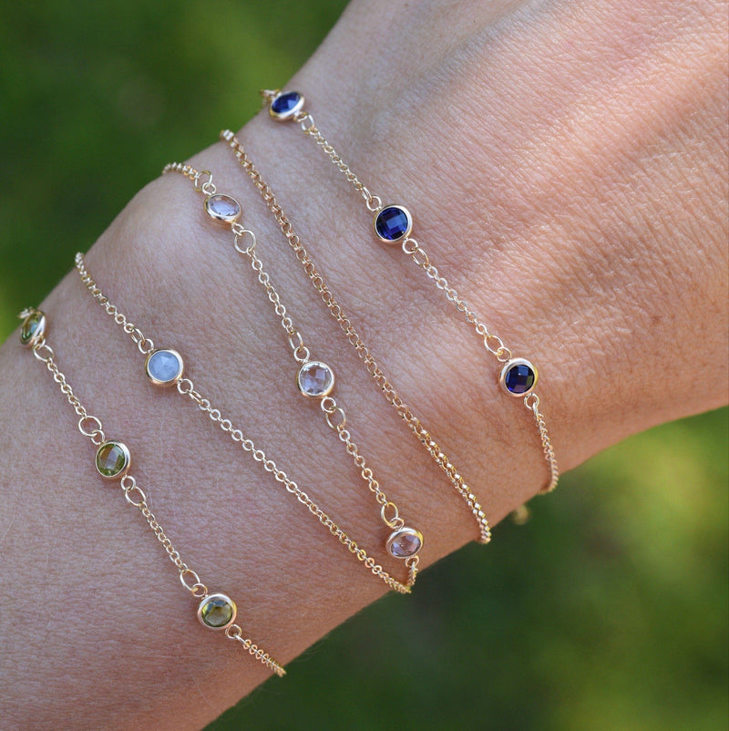 4 Stone Birthstone Bracelet 14k Gold with Sapphire (September)