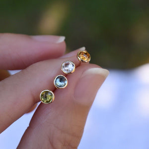 Birthstone Studs 14k Gold with White Topaz (April)