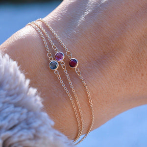 Solitaire Birthstone Bracelet 14k Gold with Nantucket Blue Topaz (December)
