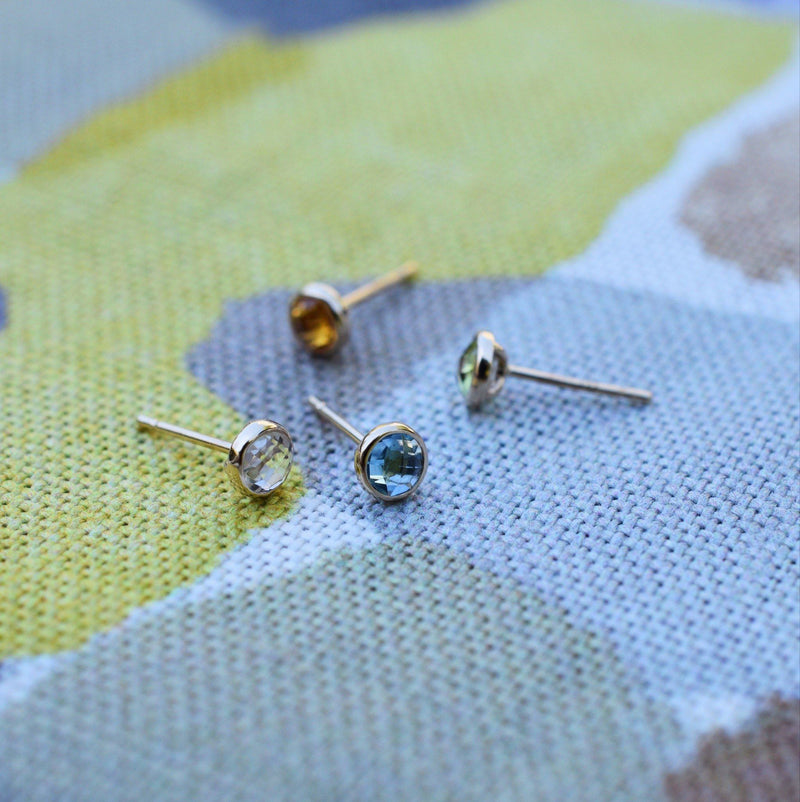 Birthstone Studs 14k Yellow Gold with Nantucket Blue Topaz (December)