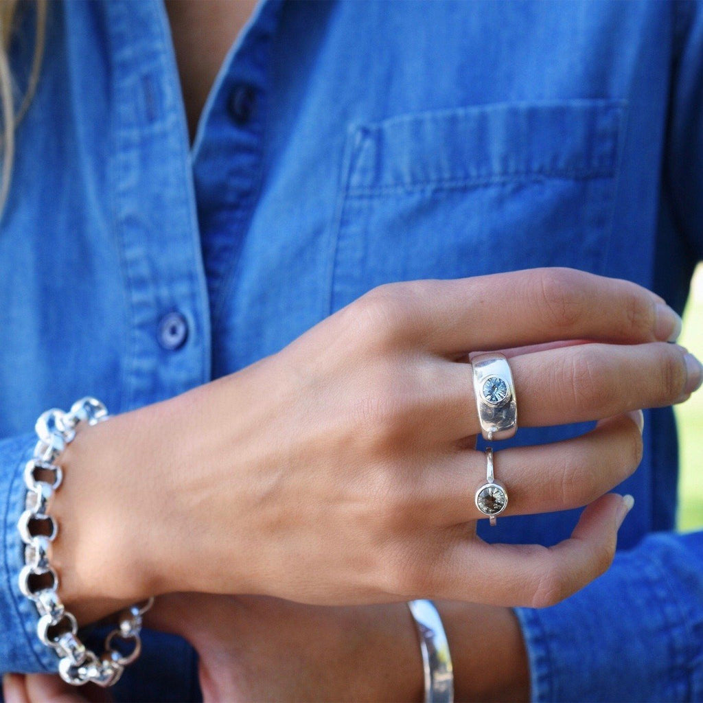 Charley Ring in Nantucket Blue Topaz