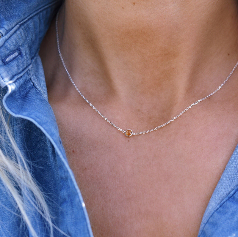 Eve Necklace in Silver with Citrine (Novemver)