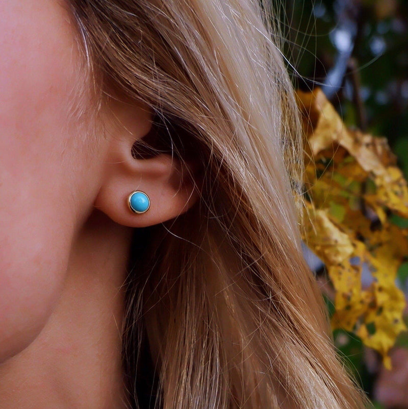 Cabochon Earrings 14k Gold with Turquoise (December)