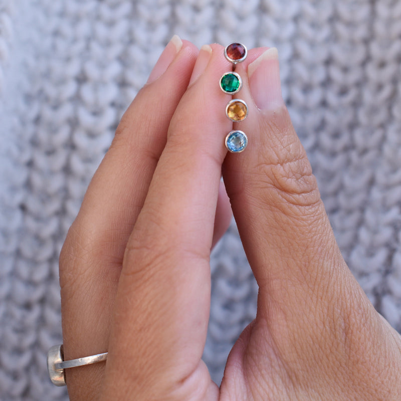 Birthstone Studs 14k White Gold with Emerald (May)
