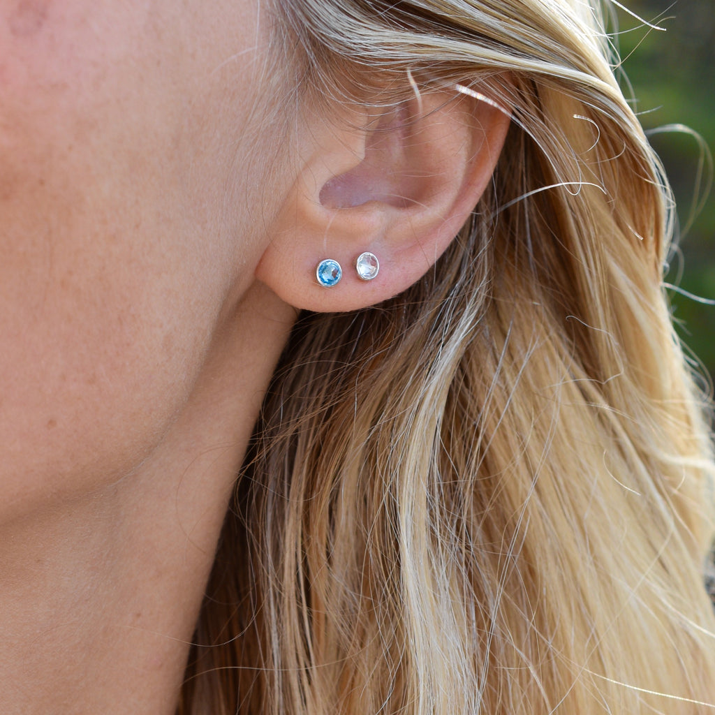 Birthstone Studs 14k White Gold with Nantucket Blue Topaz (December)