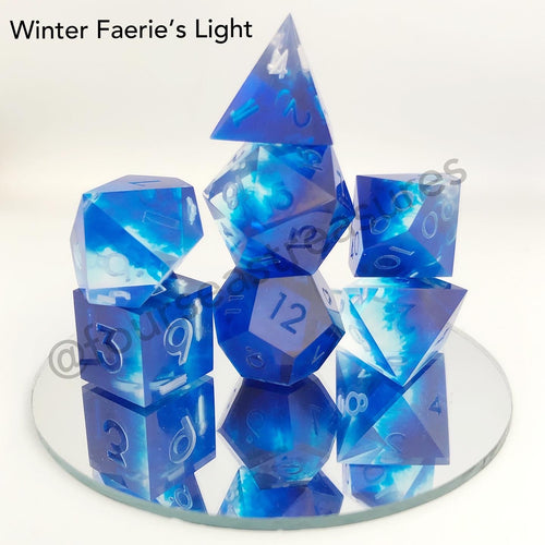 Handmade Dice Set - Winter Faerie Light