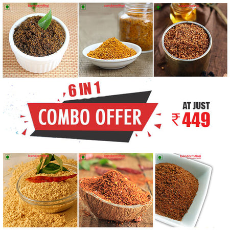 Powders [Podi's] (6 in 1) Combo Pack - Free Delivery - Bandar Mithai (Andhra Home Foods)