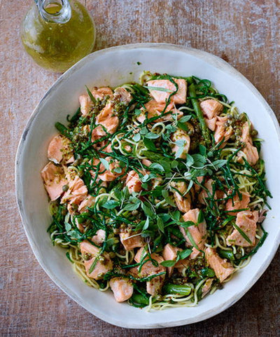 Recipes - Salmon Fillets, Noodles, Courgetti and Asparagus with Tarragon Lime and Caper Dressing
