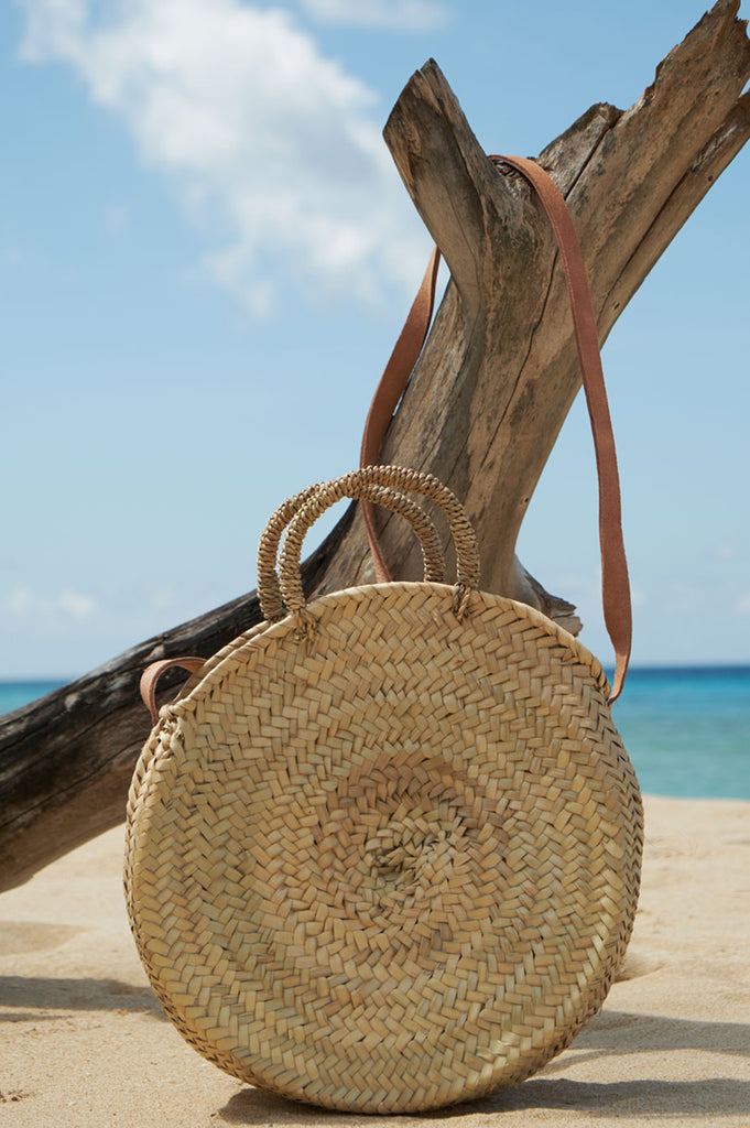 Crossbody Round Basket | Natural/Gold