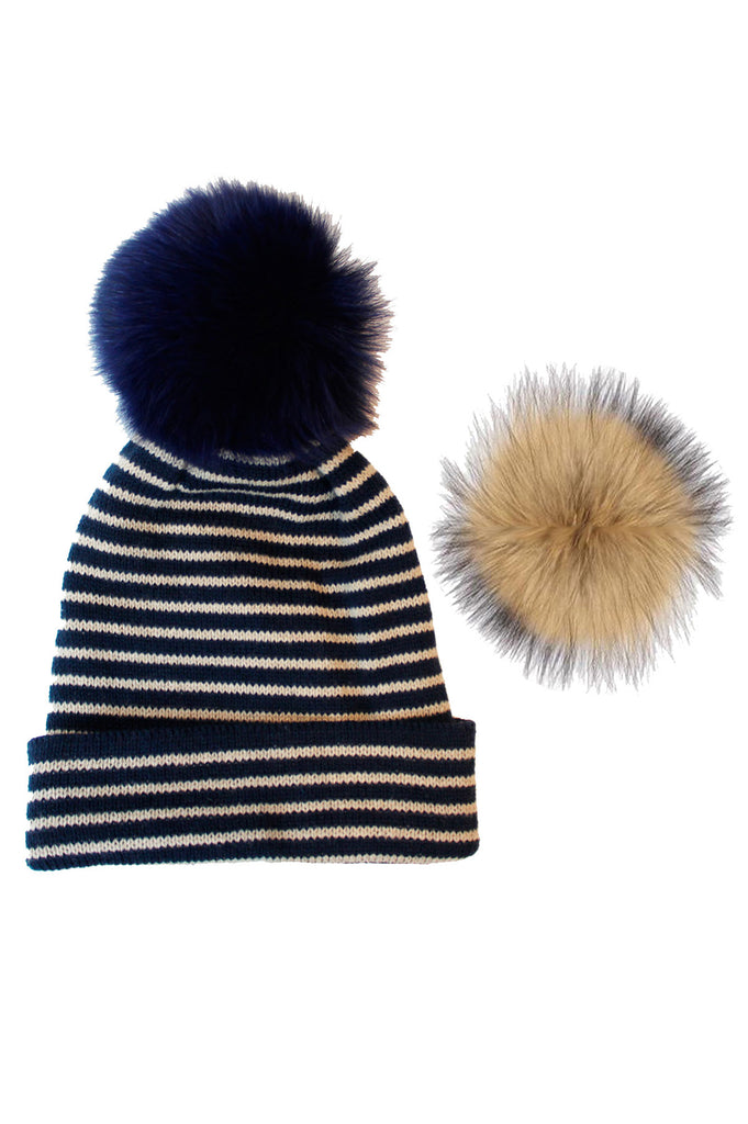 Milly Interchangeable Pom Pom Hat by Rose & Rose | Blue/Beige - Aspiga