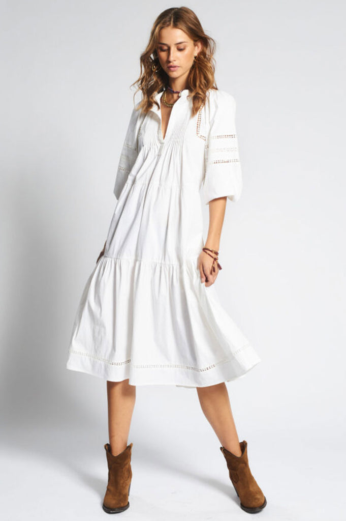 Nolani Cotton Midi Dress | White