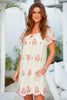 Jade Embroidered Dress | Ecru/Coral