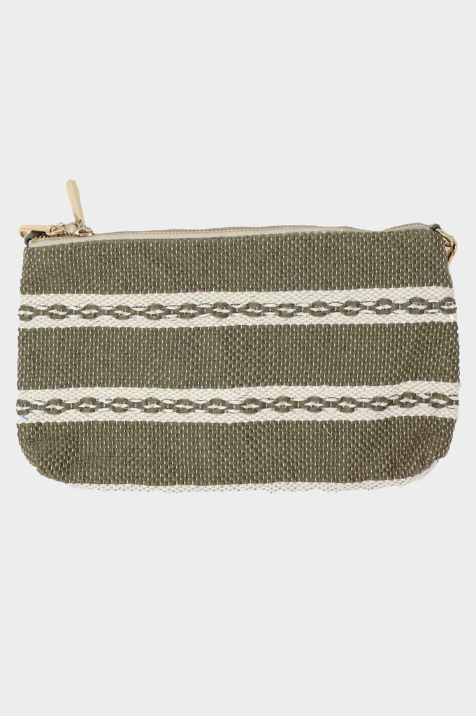 4 in 1 Medium Handwoven Cotton Bag | Khaki/White