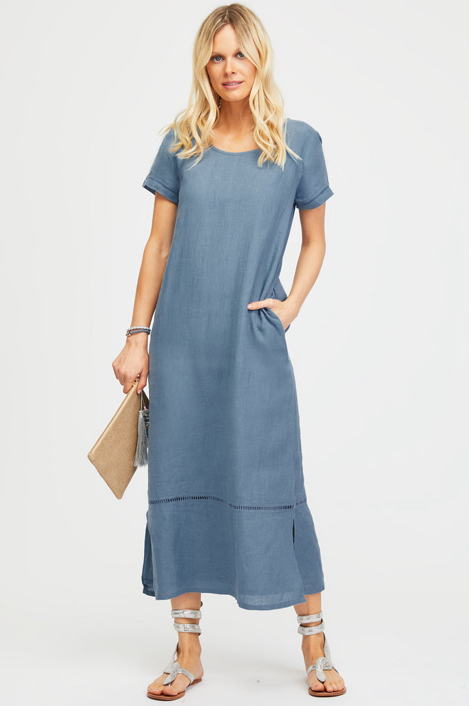 Alisha Linen Maxi Dress | Dusty Blue