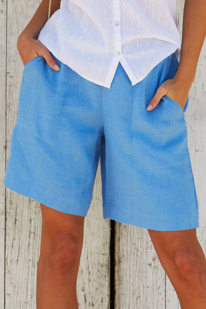 Joelle Linen Shorts | Powder Blue