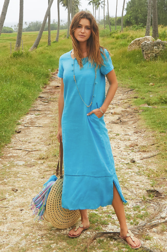 Alisha Linen Maxi Dress | Turquoise