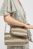 4 in 1 Medium Handwoven Cotton Bag by Pink Powder | Khaki/White - Aspiga