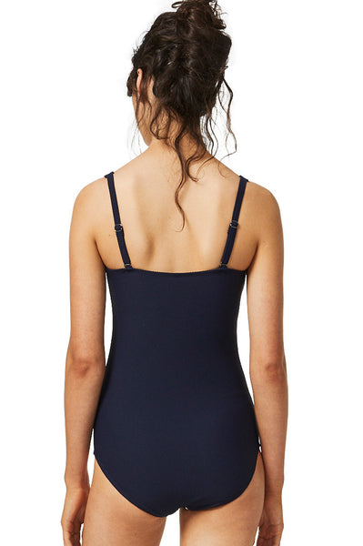Above Board Square Neck Swimsuit by Moontide | Navy/White