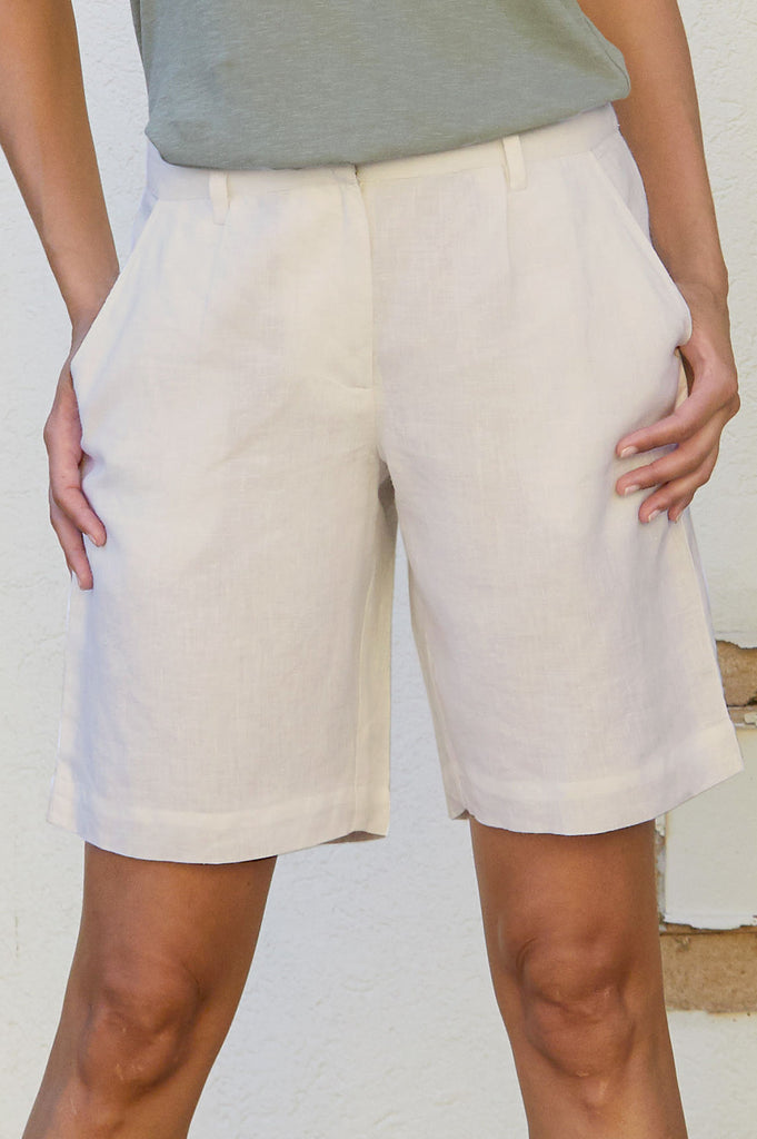 Alexandra Long Linen Shorts | Natural