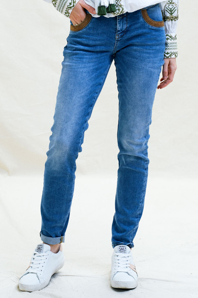 Amber Embroidered Skinny Jeans | Blue