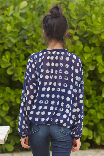 Ana Chiffon Blouse | Blue/White